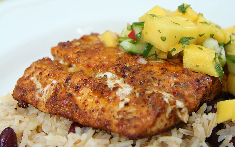 Recipe: Cajun Salmon with Mango Salsa & Beany Rice