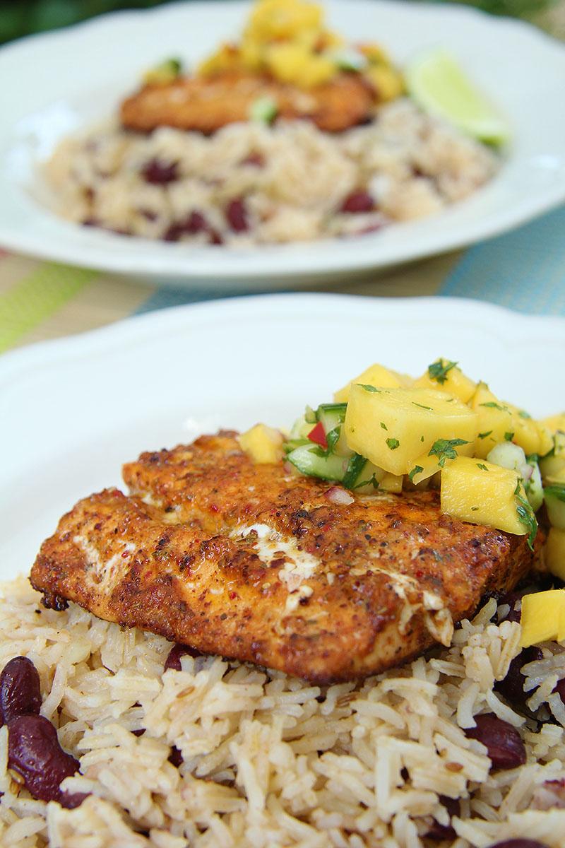 Cajun Salmon with Mango Salsa & Beany Rice recipe – The Artisan Food Trail