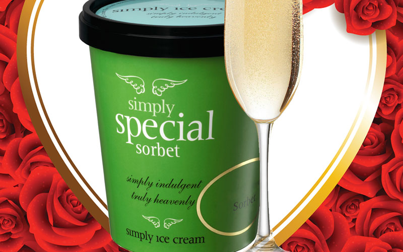 You'll simply love Simply Ice Cream's Champagne Sorbet on Valentine's Day