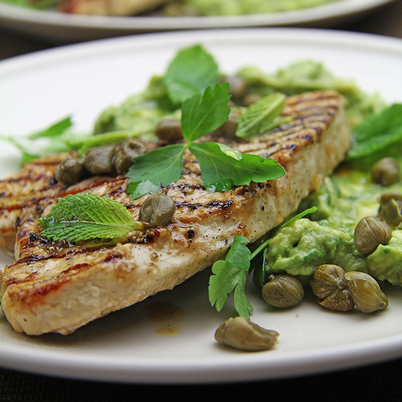 Turkey Steaks with Lemon & Mint Avocado recipe – The Artisan Food Trail