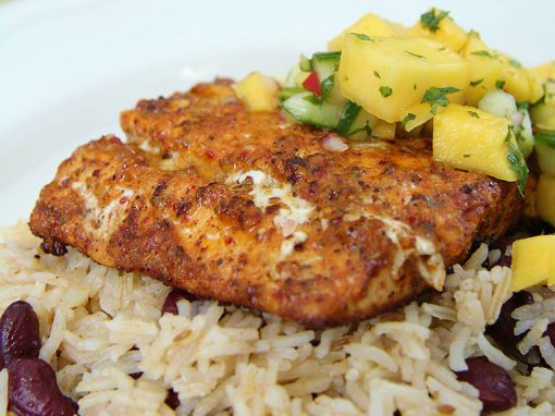Cajun Salmon with Mango Salsa and Beany Rice