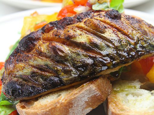 Grilled Mackerel with Pepper Salad