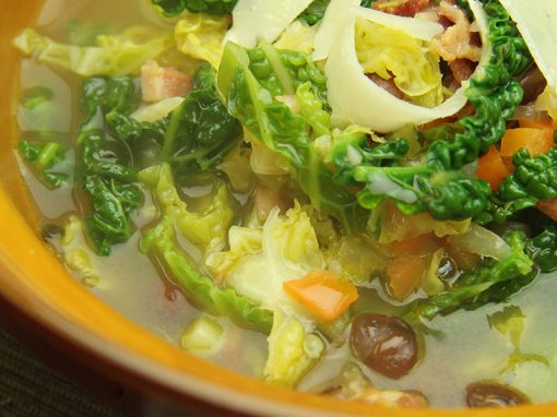 Smoked Bacon, Bean and Savoy Cabbage Soup