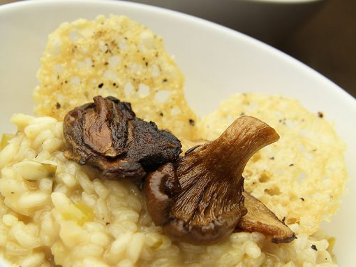 Smoked Mushroom Risotto with Smoked Parmesan Crisps