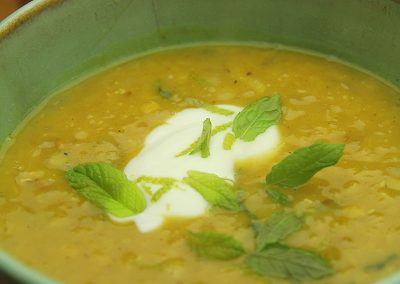 Spiced Lentil Soup with Lime and Mint