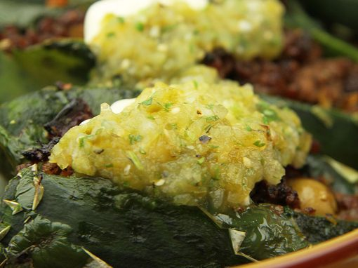 Stuffed Poblanos with Roasted Tomatillo Salsa