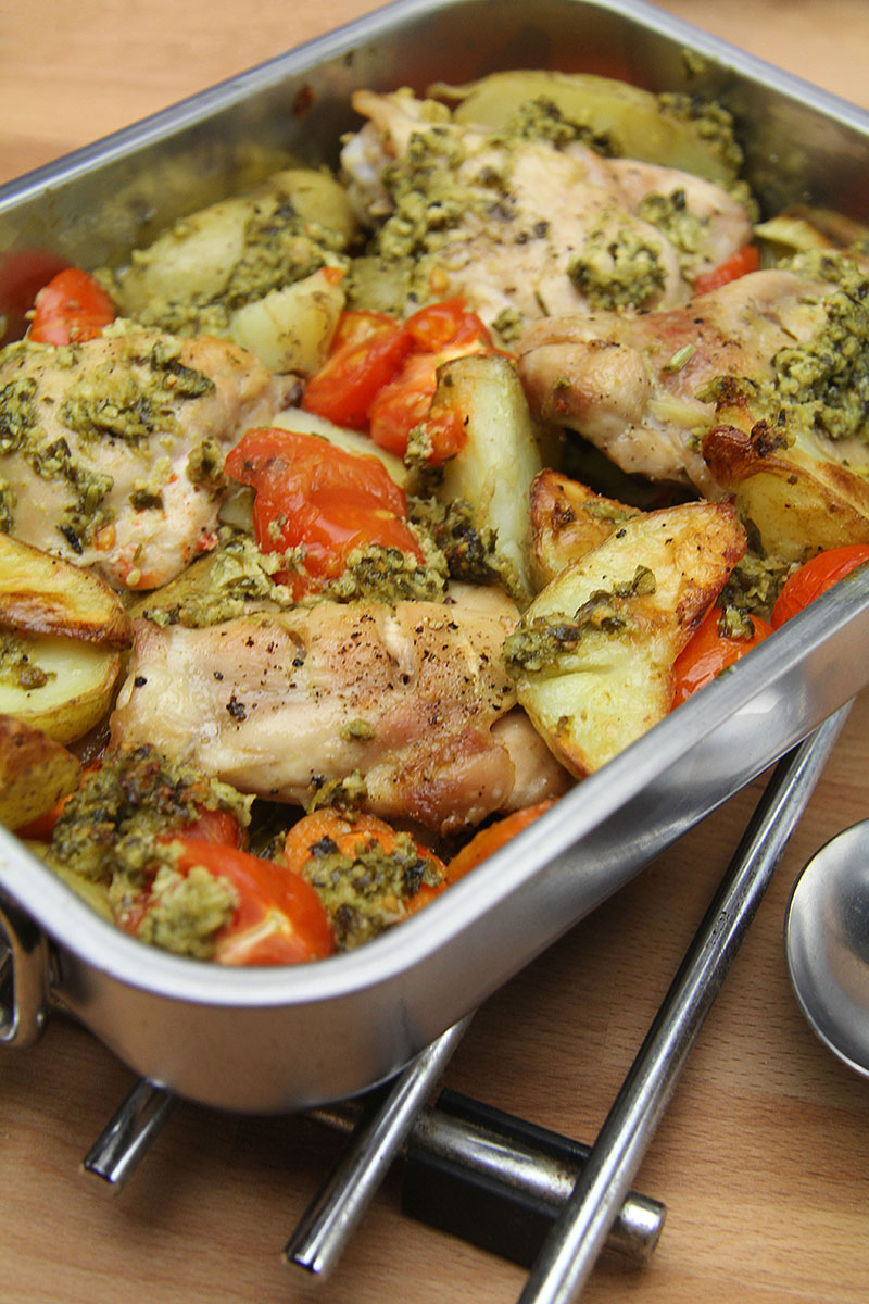 Chicken Vegetable Pesto Traybake Recipe – The Artisan Food Trail